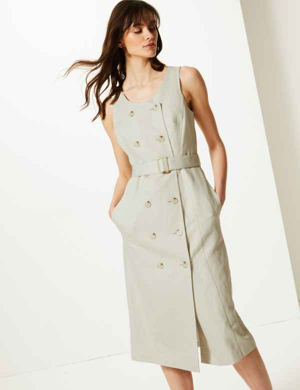 4885bafe1dfc Linen Rich Double Button Front Midi Dress
