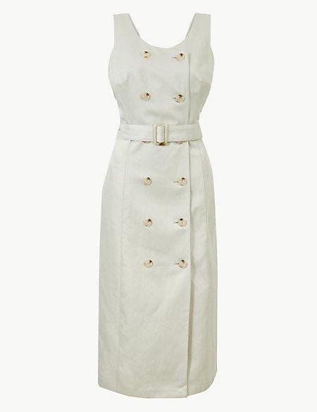 Linen Rich Double Button Front Midi Dress
