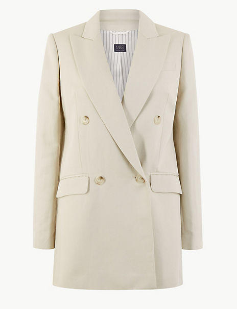 Linen Rich Double Breasted Longline Blazer