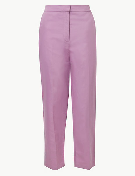 Linen Rich Straight Ankle Grazer Trousers