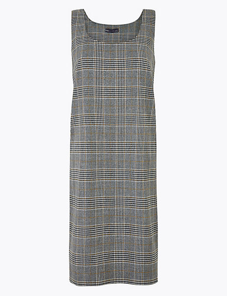 Checked Midi Pinafore Dress