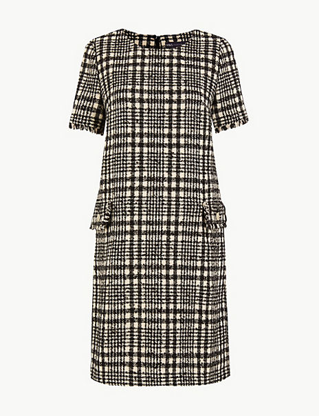 Tweed Checked Shift Mini Dress