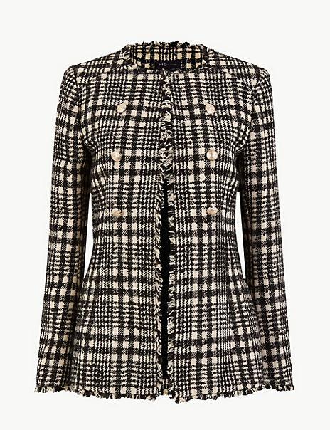 Tweed Checked Longline Blazer