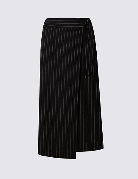Belted Wrap Asymmetrical Skirt