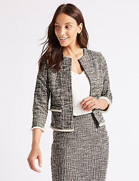 Cotton Rich Textured Jersey Blazer