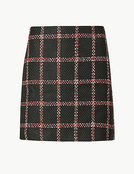 Checked Pencil Mini Skirt