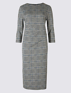 Cotton Blend Checked Twist Side Pencil Dress