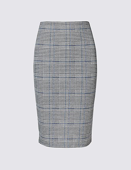 Cotton Blend Checked Pencil Skirt
