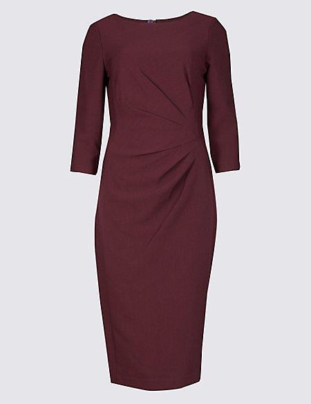 Twisted Side 3/4 Sleeve Bodycon Dress