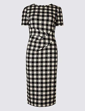 Checked Short Sleeve Pencil Dress