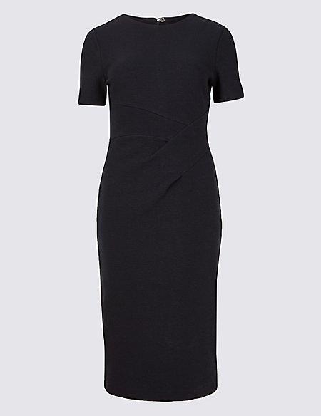 Textured Short Sleeve Pencil Dress