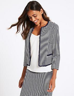 Jersey Striped Blazer , NAVY MIX, catlanding