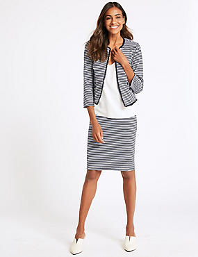 Striped Jersey Blazer & Pencil Skirt
