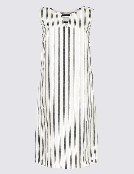 Pure Linen Striped Tunic Dress