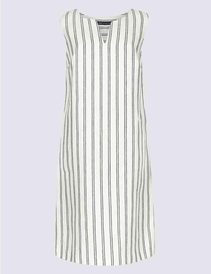 ba251c3ef3 Pure Linen Striped Tunic Dress