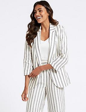Pure Linen Striped Blazer , IVORY MIX, catlanding