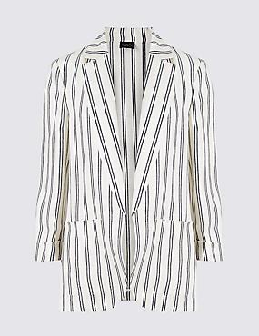 Pure Linen Striped Blazer