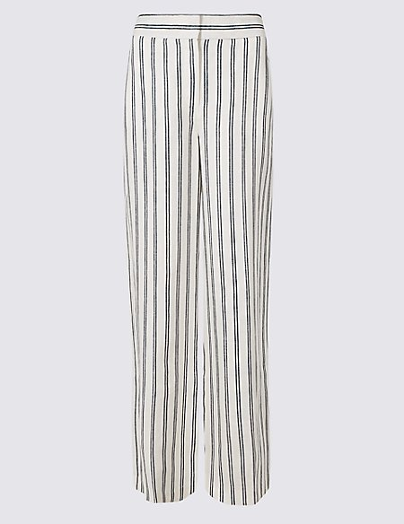 Pure Linen Striped Wide Leg Flared Trousers