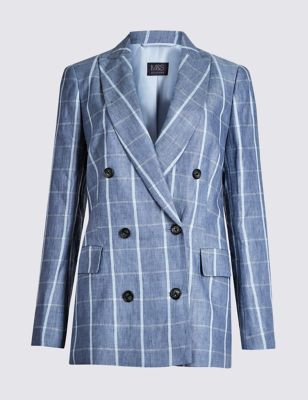 Pure Linen Checked Blazer by Marks & Spencer