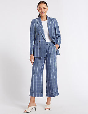 Pure Linen Checked Wide Leg 7/8 Trousers