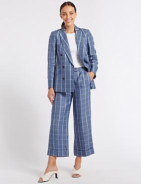 Pure Linen Wide Leg 7/8th Crop Trousers