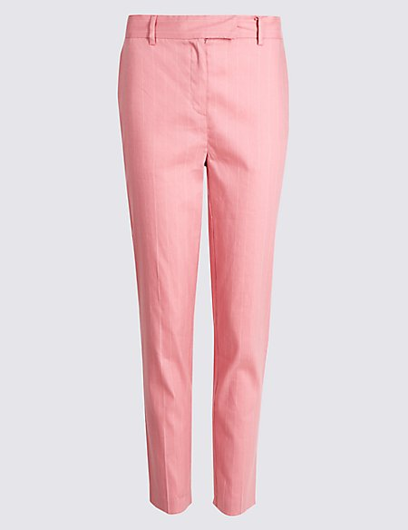 Linen Rich Slim Leg 7/8th Crop Trousers