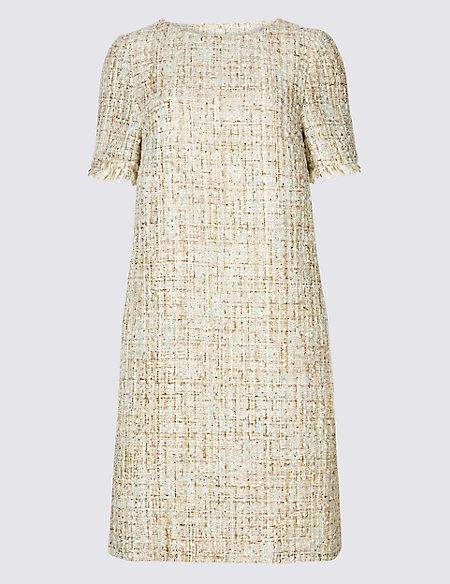 Textured Short Sleeve Shift Dress