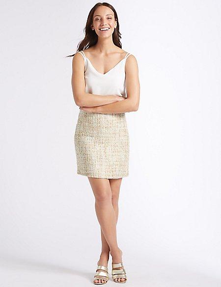 Textured A-Line Mini Skirt
