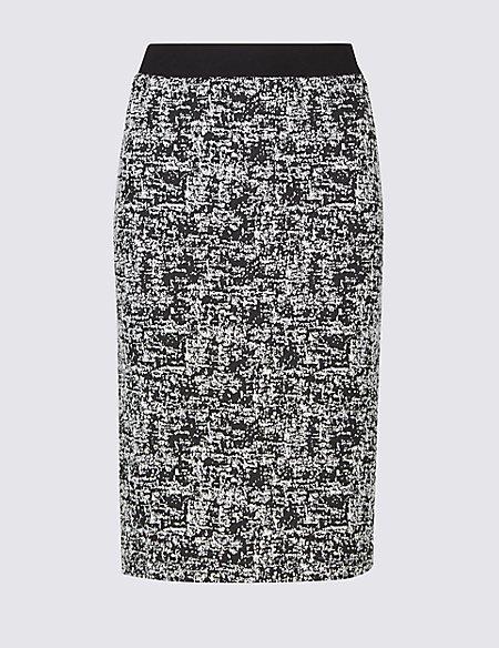 Cotton Blend Jacquard Print Pencil Skirt