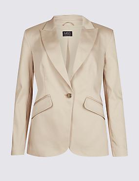 Cotton Rich Single Breasted Blazer