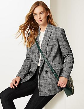Checked Long Sleeve Blazer