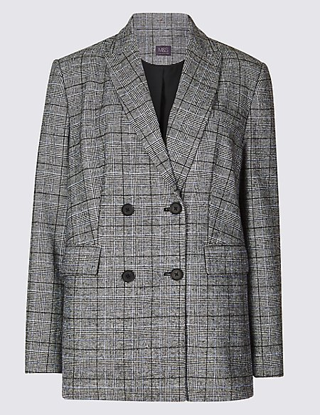 Checked Long Sleeve Blazer