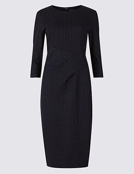 Striped 3/4 Sleeve Bodycon Dress