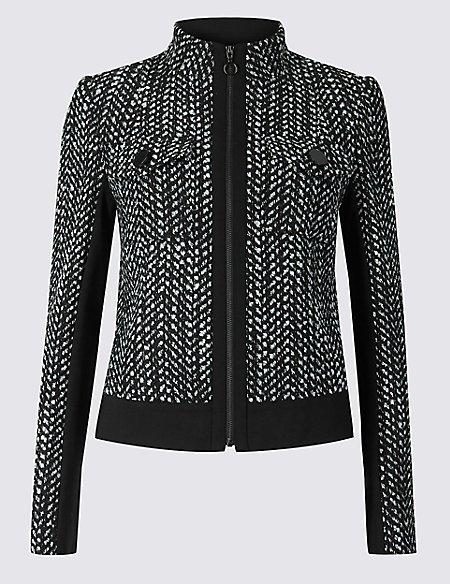 Textured Zip Through Blazer