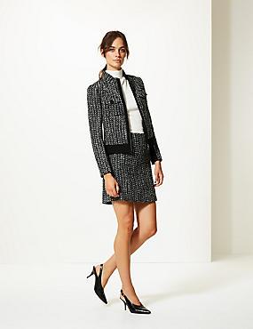 Wool Bend Textured A-Line Mini Skirt