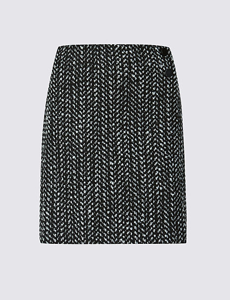Wool Bend Textured A-Line Mini Skirt