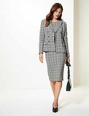 Checked Bodycon Dress & Blazer Suit Set