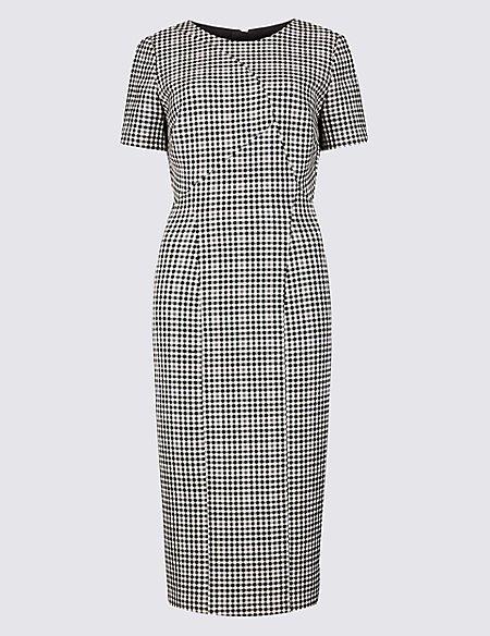 Checked Short Sleeve Bodycon Dress