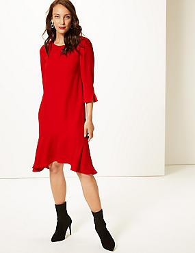 Crepe Fishtail 3/4 Sleeve Swing Dress