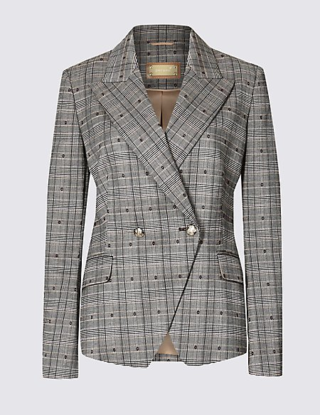 Cotton Blend Checked Double Breasted Blazer