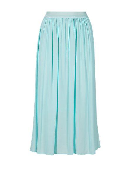 Velvet Waistband A-Line Skirt