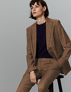 Wool Blend Checked Single Breasted Blazer