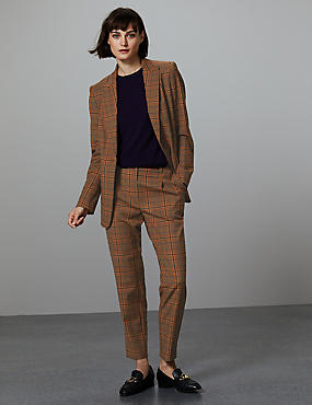 Wool Blend Checked Slim Leg Trousers