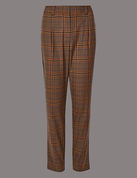 Wool Blend Checked Slim Leg Trousers