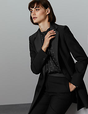 Long Sleeve Blazer , BLACK, catlanding