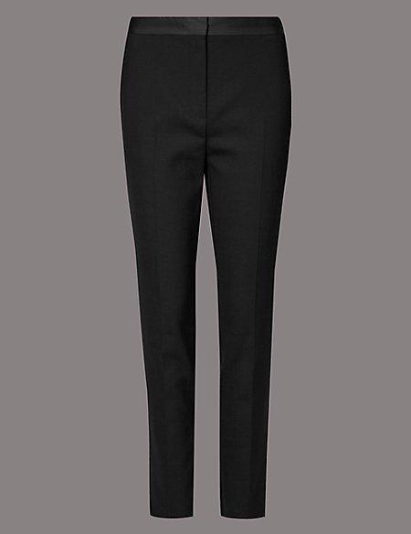 Satin Trim Slim Leg Trousers
