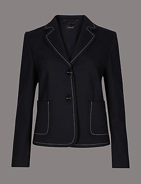 Contrast Stitch Long Sleeve Blazer, NAVY, catlanding