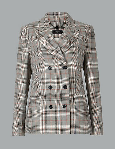 Cotton Checked Double Breasted Blazer