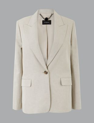 Cotton Rich Single Breasted Blazer With Linen by Marks & Spencer