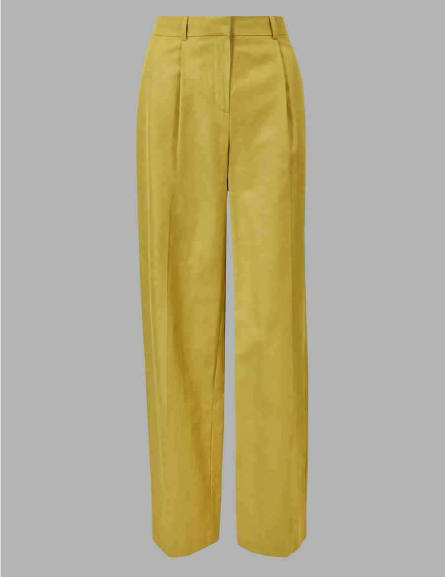 9cff64d87245 Linen Blend Wide Leg Trousers